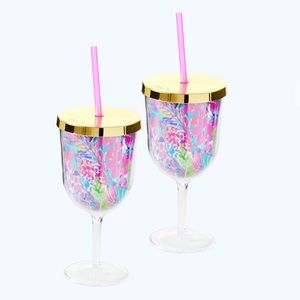 Lilly Pulitzer Sip Sip Cups Wine Glasses w/Straws